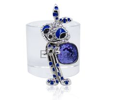 luxury fresh brooch with royal blue Swarovski crystals in rabbit shape for lovely lady