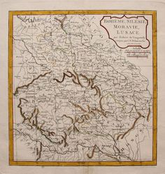 Bohemia Austria Hungary Silesia and Moravia antique map by Vaugondy 1800 Old Maps, Antique Maps, Bohemia Country, Map Globe, My Family History, Historical Maps, Central Europe, Map Art, Bohemian