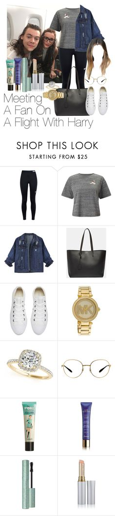 """""""Meeting A Fan On A Flight With Harry Styles"""" by jenadamss ❤ liked on Polyvore featuring NIKE, Miss Selfridge, Yves Saint Laurent, Converse, Michael Kors, Allurez, Ray-Ban, Benefit, Guerlain and Too Faced Cosmetics"""