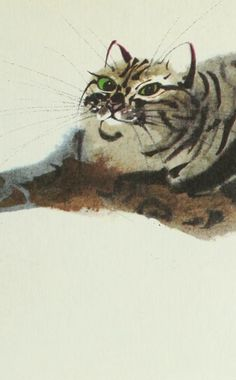 "Illustration by Mirko Hanák, 1971, ""The Cat and the Rat""detail, Animal Folk Tales, Grosset & Dunlap, NY."