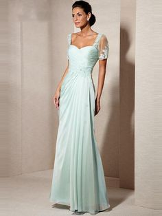 Sheath/Column Short Sleeves Chiffon Floor-Length Mother of the Bride Dresses