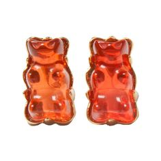 Red Gummy Bear Studs Earrings ($24) ❤ liked on Polyvore featuring jewelry, earrings, 18 karat gold stud earrings, 18k earrings, red stud earrings, 18 karat gold earrings and bear jewelry