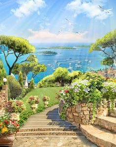 custom murals and murals- фрески и фотообои на заказ custom murals and murals - Dream Pictures, Nature Pictures, Pretty Pictures, Studio Background Images, Art Background, Beautiful Paintings, Beautiful Landscapes, 3d Wall Painting, Episode Interactive Backgrounds