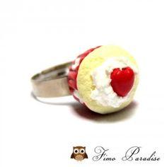 Bague cupcake Valentine - Fimo Paradise - Bijoux gourmands fimo