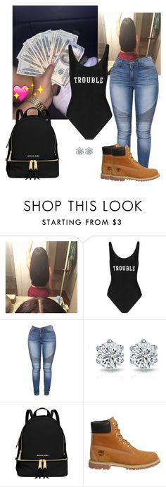 """""""Untitled #377"""" by qveenchynamonae ❤ liked on Polyvore featuring GET LOST, ADRIANA DEGREAS, MICHAEL Michael Kors and Timberland"""