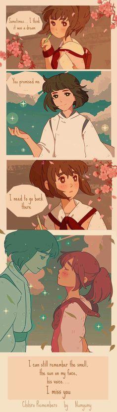 """I love this movie : ) """"Spirited Away"""" Ghibli Studio. So sad. Studio Ghibli Art, Studio Ghibli Movies, Manga Anime, Anime Art, Hayao Miyazaki, Nausicaa, Anime Bebe, Chihiro Y Haku, Film D'animation"""