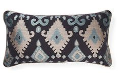patterned moroccan style pillow, Foreign 11x21 Pillow, Navy on OneKingsLane.com