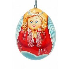 Angel Egg (red), $14.00, catalog of St Elisabeth Convent. #Catalogofgooddeed #angel #egg #red #handpainted #wood #paint #pendants