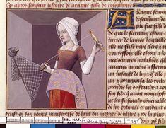 Arachne weaving a net (or lace?). From Boccacio, de mulieribus claris/Le livre de femmes nobles et renomées (trad. anonyme), 15-16th century, France (Cognac). Bibliothèque Nationale MS Français 599 fol. 17v