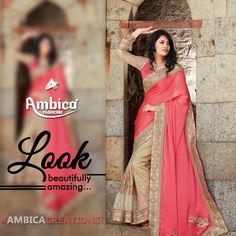 Look beautifully amazing in an Ambica Fab Design creation! -- For more details contact us on: 99799-00476 | www.ambicasurat.in #SareesInAmbica #SareesCollection #FashionableSarees #AmbicaCollection