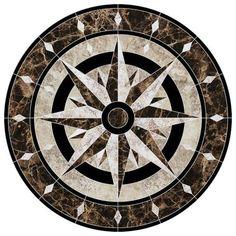 Compass Medallion Porcelain Swimming Pool Mosaic x Floor Design, Tile Design, Swimming Pool Mosaics, Foyer Flooring, Compass Design, Compass Rose, Floor Patterns, Italian Art, Stone Work
