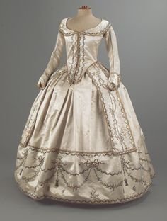 Caraco Style Robe and Petticoat with Spangled and Embroidered Trim, ca. 1780-90