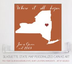 Gift for the NEWLYWEDS! Custom ANY State silhouette Map Art by Geezees