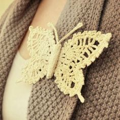 crocheted butterfly pin by kitty
