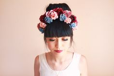 oversize flower crown headband  // wedding bridal headpiece, quirky, lana del rey, nature, garden party, enchanted, magical. $59.00, via Etsy.
