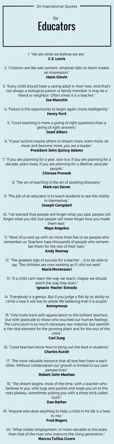 20 Inspirational Quotes for Educators #quotes #teachers