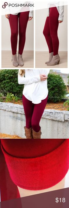 "⭐️JUST IN⭐️ Burgundy Fleece Lined Leggings Beautiful, soft, stretchy, and extremely comfortable! Burgundy leggings that are lined with fleece for comfort. Super cute to pair with boots and a cute top. ❤️ One Size fits up to size 12 comfortably. 92% Polyester, 8% Spandex.  Length: 38"" Inseam: 27""  ➡️No Trades. ➡️No Lowball Offers. ➡️No Holds. ➡️Bundle and save! Pants Leggings"