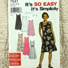 Dress or Jumper Simplicity 7541 Pattern for by DartingDogPatterns