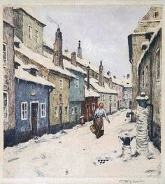 """""""Zlata Ulicka in Winter"""" Tavik František Šimon: the Graphics from Great Paintings, Old Paintings, Seascape Paintings, Beautiful Paintings, Prague City, Winter Scenery, European Paintings, City Landscape, Illustrations And Posters"""