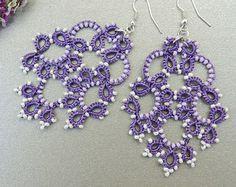 Tatted earrings - Tatted jewelry - Long lace earrings - Dangle earrings - Chandelier earrings - Elegant earrings - Purple earrings