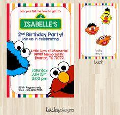 Sesame Street Invitation Sesame Street Birthday by BusleyDesigns Elmo Invitations, Sesame Street Invitations, Sesame Street Party, Sesame Street Birthday, Elmo Birthday, 2nd Birthday Parties, Birthday Ideas, Party Poster, Print Packaging