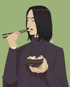 Day 4 of POC Snape Week : Severus and food Severus Snape had the same food as the other Hogwarts staff, except he had an extra bowl of rice. Professor Severus Snape, Severus Rogue, In This House We, Fantastic Beasts And Where, Alan Rickman, Harry Potter Art, Voldemort, Half Blood, Drarry