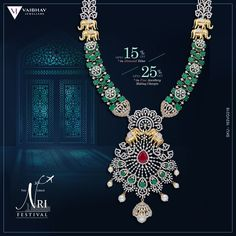 Make a rendezvous with royalty, adorn this sublime piece of Diamond Haram bejewelled with Emeralds and Dainty Gold Elephants. A matchless piece for the queen in you! Vaibhav Jewellers brings you jewellery that would make you travel through the time. Jewellery Designs, Necklace Designs, Diamond Necklace Simple, Dream Engagement Rings, Diamond Jewellery, Emeralds, Handcrafted Jewelry, Wedding Jewelry, Queen