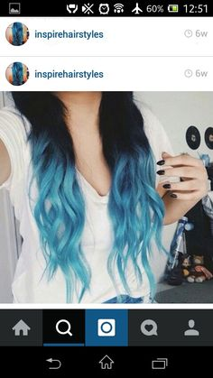 Blue highlights with black as the main hair color!  i love this!