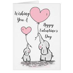 "Fanciful Elephants ""Happy Valentines Day"" Card - Saint Valentine's Day gift idea couple love girlfriend boyfriend design"