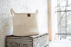 Košíky - Veľký háčkovaný bavlnený kôš - 6623701_