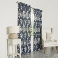 Possibility for dining room  Ikat Linen Grommet Top 84-inch Curtain Panel Pair - Overstock™ Shopping - Great Deals on Curtains