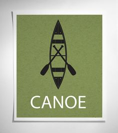 Canoe - Modern Graphic Art Print - Green Canoe