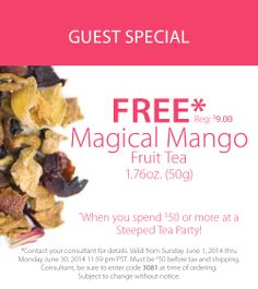 Magical Mango is incredible iced. Mango Fruit, Fruit Tea, Buy Tea, Coffee Drinkers, Loose Leaf Tea, Tea Accessories, Party Guests, Tea Party, The Cure