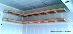 Learn to Launch your Carpentry Business - Garage Overhead Mightyshelves Alternative Hardware Methods Learn to Launch your Carpentry Business - Discover How You Can Start A Woodworking Business From Home Easily in 7 Days With NO Capital Needed! Garage Ceiling Storage, Garage Shelving, Garage Shelf, Garage House, Wood Storage, Diy Storage, Storage Ideas, Closet Storage, Garage Cabinets