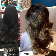 """Everyone knows how hard it is to lift black or dark brown artificial color.. I was obsessed of how nice I lift her to..@glamoursalonlv #balayage #ombre…"""