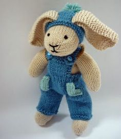 Crochet Amigurumi Rabbit Patterns Mack and Mabel: Free Knitting Pattern for Rabbit Trousers Knitted Bunnies, Knitted Animals, Knitted Dolls, Crochet Dolls, Knitted Bags, Knitting For Kids, Free Knitting, Knitting Projects, Baby Knitting