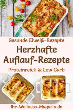 Hearty casserole recipes - high-protein and low-carb - Protein-rich casserole recipes: Hearty low-carb recipes with lots of protein and healthy – e. Casserole Recipes, Meat Recipes, Low Carb Recipes, Vegetarian Recipes, Healthy Recipes, Protein Recipes, Low Carb Protein, Healthy Protein, High Protein