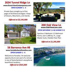3 Listings OPEN THIS WEEKEND #JonMahoney #SantaBarbara #OpenHouse #RealEstate