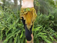 Nuno felted wood sprite festival wrap skirt in autumn colours and leaf detailing on Etsy, $66.50