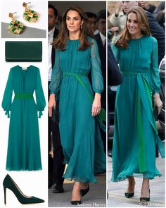 The Duchess dressed very diplomatically for her visit to the Aga Khan Centre today, opting for a bottle green dress echoing the Pakistani… Kate Middleton Latest, Style Kate Middleton, Kate Middleton Outfits, The Duchess, Duchess Of Cambridge, Royal News, Princesa Kate Middleton, Princesa Real, Style Royal