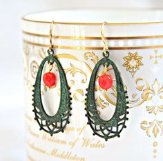 Filigree patina hoop red earrings. Boho earrings by ReyesRobledo