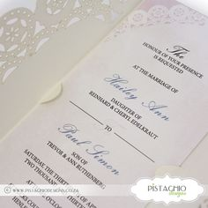 Wedding Invitation on Doiley with Fold Elegant Invitations, Wedding Invitations, Pistachio, Design, Pistachios, Wedding Invitation Cards, Wedding Invitation, Wedding Announcements