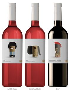 Las simpáticas etiquetas de los vinos de una cadena de supermercados belga. El representante argentino es un Syrah.