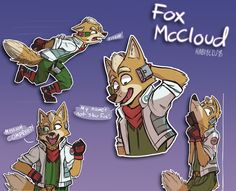 Hey look, it's Star Fox! I bet he's good friends with that Zelda guy. I've been wanting to draw this guy for a while. He's my favorite character in Smas. Star Fox is my favorite character Star Fox 64, Fox Mccloud, Character Art, Character Design, Fox Games, Nintendo Super Smash Bros, Fox Pictures, Furry Comic, Cute Cartoon Animals