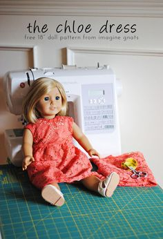 sewing: the chloe dress {free 18 doll dress pattern} || imagine gnats