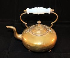 Antique English Footed Brass Footed Tea Kettle by HillsboroughRoad