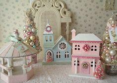 Shabby Pink Birdhouse Ornaments - make my own christmas village! Shabby Chic Christmas, Christmas Love, Vintage Christmas, Christmas Crafts, Christmas Decorations, Holiday Decor, Christmas Glitter, Putz Houses, Bird Houses