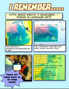 grade combined art and poems! Fifth Grade Writing, 5th Grade Art, Ipad Art, Art Classroom, 5th Grades, Watercolor Background, Art Blog, Art Education, Language Arts