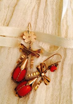 Mouse over image to zoom Antique-EARRINGS-Red-Mediterranean-Coral-10K-Gold