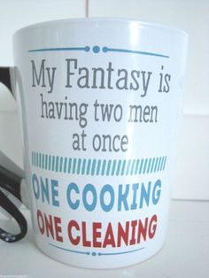 Naughty Fantasy Coffee Cup Two Men Maid Cook Women Bride Funny Xmas Gag Gift New #Tumbleweed